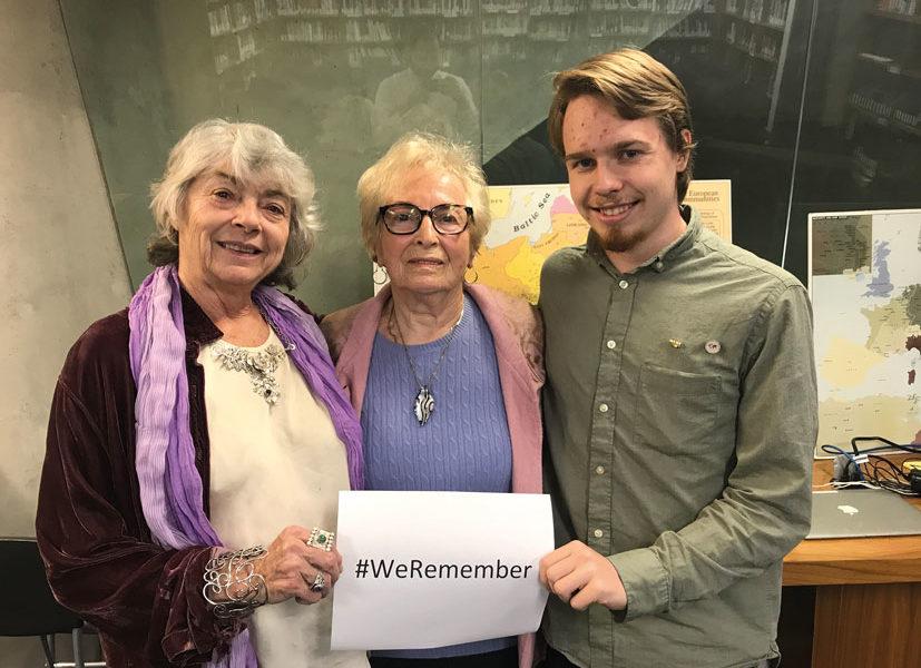Jonathan Dorner mit den beiden Holocaustüberlebenden Eva Trenk und Eva Nathanson